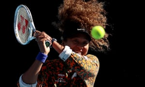 Japan's Naomi Osaka shows her delight during a training session in Melbourne on Sunday.