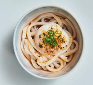Chilled udon with onsen egg and togarashi.