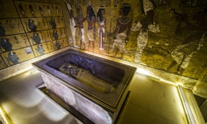 The golden sarcophagus of Tutankhamun in his burial chamber.