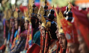 Bhutanese performers wait for the arrival of their new king, Jigme Khesar Namgyel Wangchuck, in 2008.