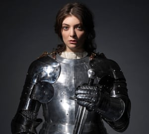 Lorde, singer-songwriter, wearing armour