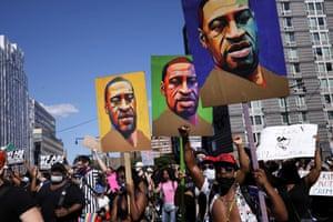 Demonstrators in Brooklyn protest against the death of George Floyd, in June.