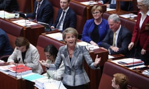 QT Senate 21/3/18Employment Minister Michaelia Cash during question time in the senate this afternoon. Wednesday 21st March 2018. Photograph by Mike Bowers. Guardian Australia