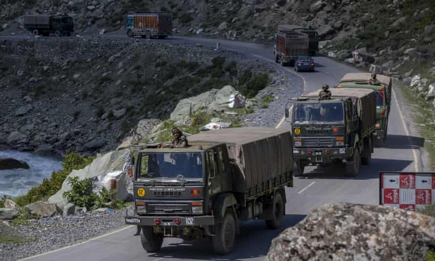 An Indian army convoy moves along the Srinagar- Ladakh highway. China and India have been engaged in a tense standoff in the Ladakh region since May but have since agreed to de-escalate.