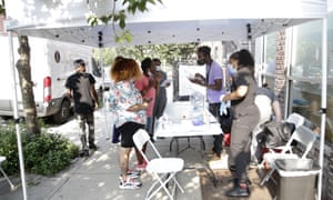 A pop-up vaccination site in Brooklyn, New York earlier this week.