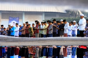 Eid al-Fitr prayers at Saburai field in Bandar Lampung, Indonesia