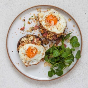 Claire Thomson's roasted mushroom with fried eggs and almonds.
