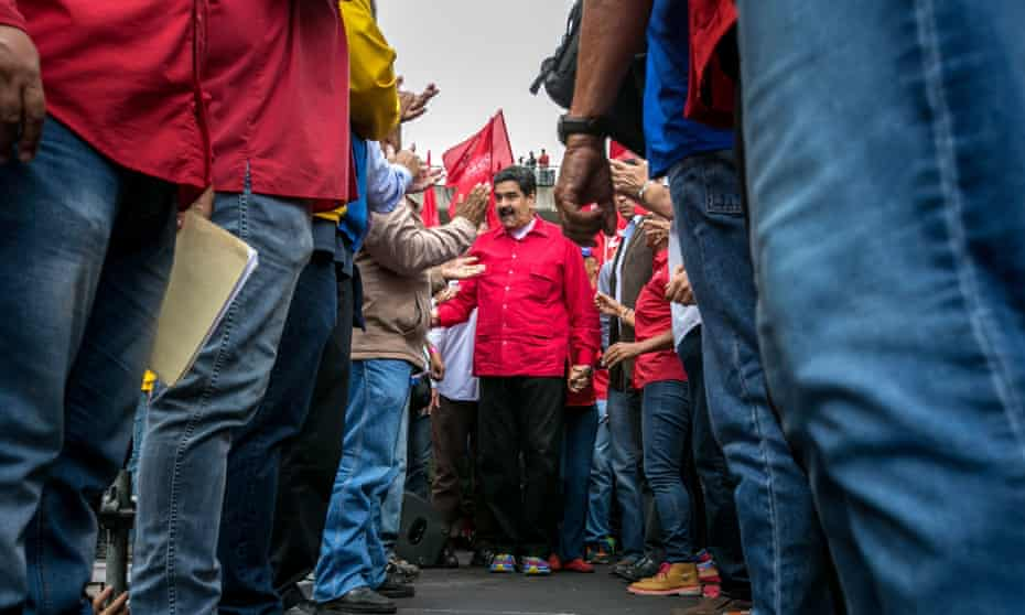 Nicolás Maduro, the president of Venezuela, takes part in a pro-government demonstration in Caracas.