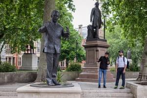 The Nelson Mandela statue in Parliament Square.