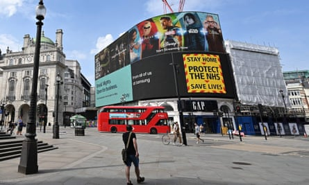 An advertising screen in London's Piccadilly Circus on 12 April