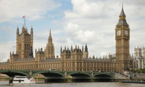A view of the Houses of Parliament and Westminster Bridge from across the River Thames in London