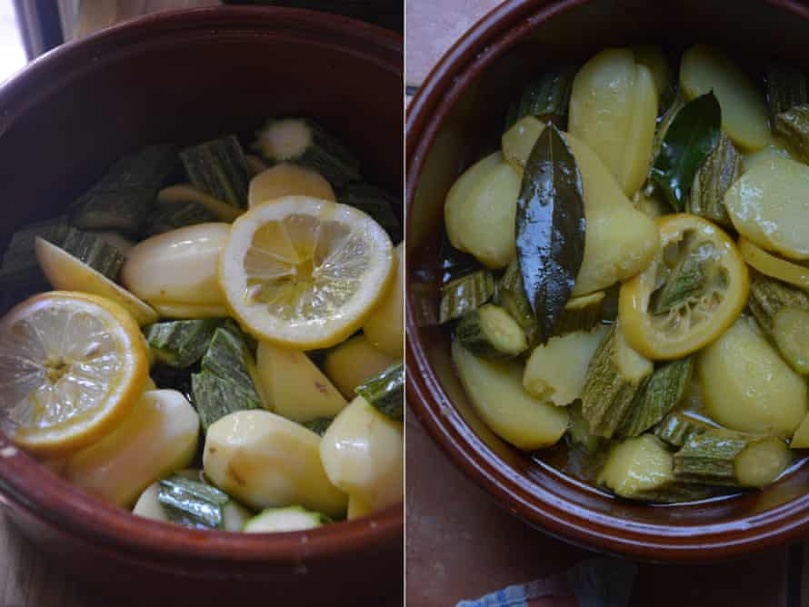 Rachel Roddy's courgette and potato with lemon and olive oil.