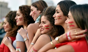 Lebanese women take part in a protest in Beirut on Sunday.