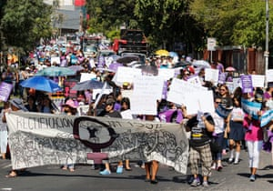 Women protest in San Salvador on International Women's Day, March 2017