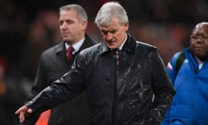 Mark Hughes, Manager of Stoke City looks dejected after the Premier League match between Stoke City and Newcastle United.