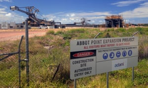 Security sign and fencing at Abbot Point expansion project