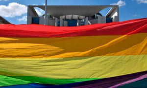 A giant rainbow banner