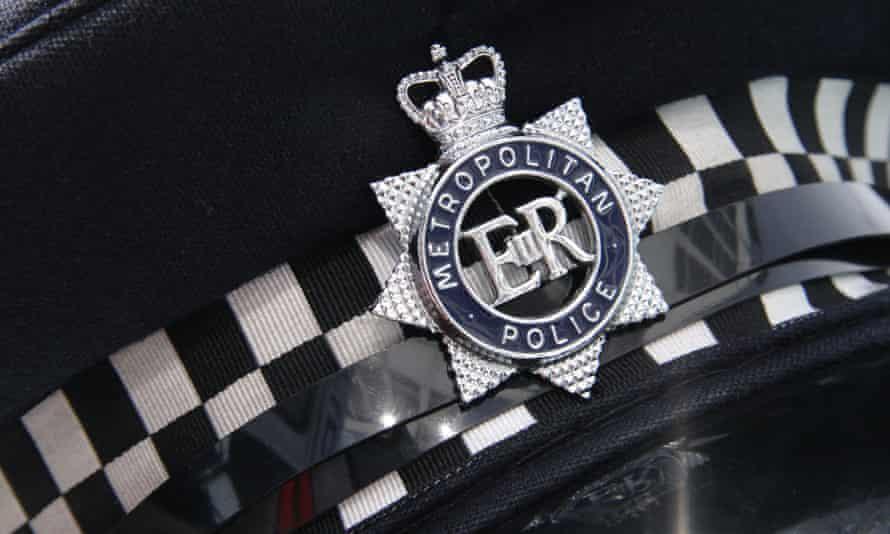 Close up detail of a London Metropolitan Police Cap