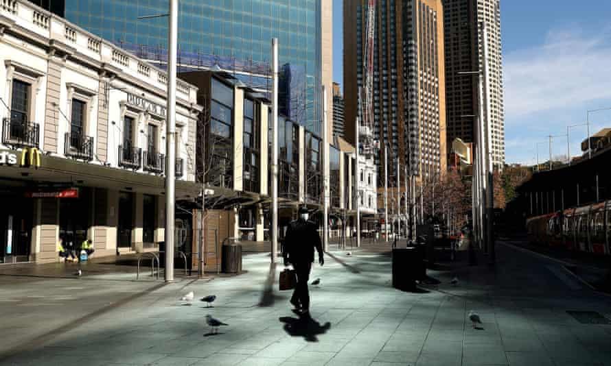 El distrito comercial central de Sydney durante el cierre del estado