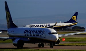 Ryanair planes at Manchester airport