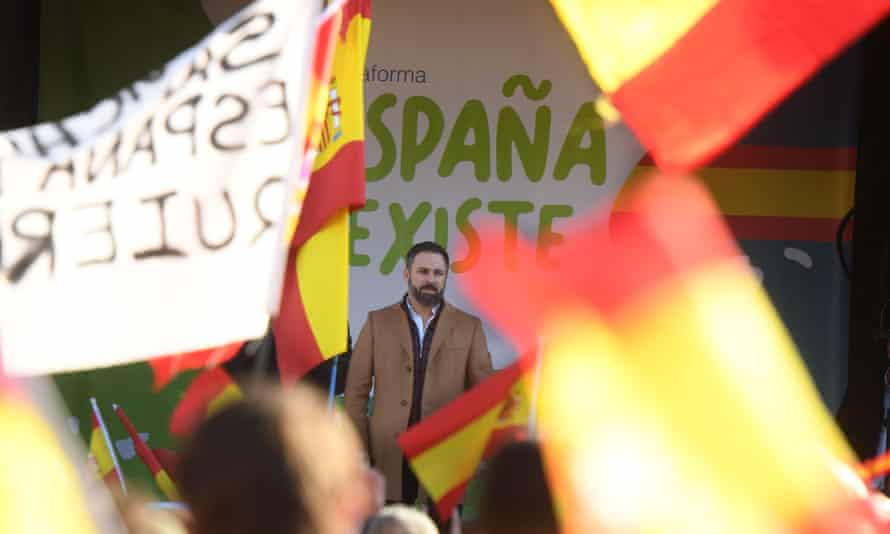Santiago Abascal, leader of the Spanish far-right Vox party at a rally in Madrid in January.