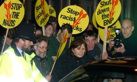 Members of the Anti-Nazi League protesting in Burnley in 2002