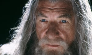 Ian McKellen as Gandalf in a The Lord of the Rings: The Fellowship of the Ring.