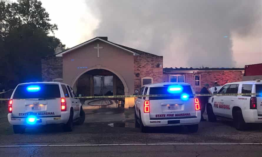 The Greater Union baptist church during a fire in Opelousas, Louisiana, on 2 April.