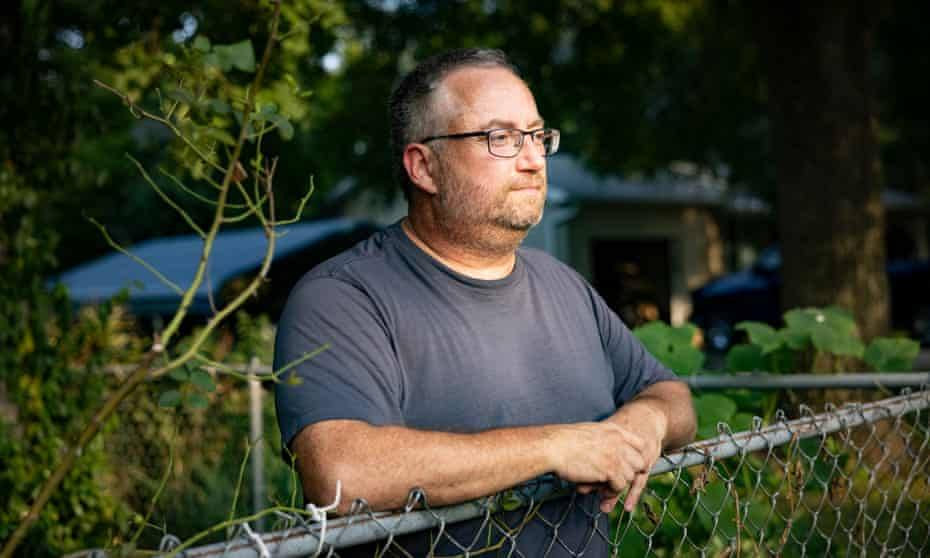 Matthew Pelto talks about living across the street from the Tyson Foods Berry Street processing facility on 30 July 2021 in Springdale, Arkansas.