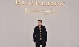 Brooklyn Beckham wearing Burberry attends the Burberry Menswear January 2016 Show.