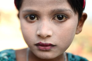 Sufaida, aged 7. The paste is sold in the camps