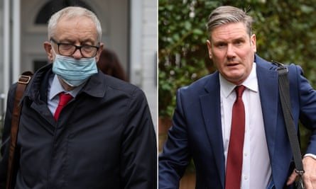 Asked if Jeremy Corbyn (left) had a future in the party, Starmer declined to comment.