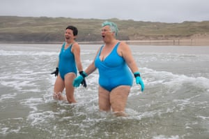 Two members of the 'Blue Tits' swimming group at Perranporth.
