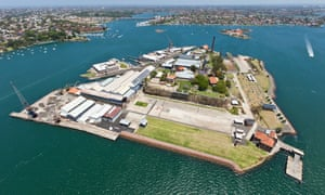 Aerial of Cockatoo Island, Port Jackson, Sydney, New South Wales, Australia,