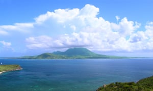 View of the Caribbean island of Nevis from Saint Kitts.
