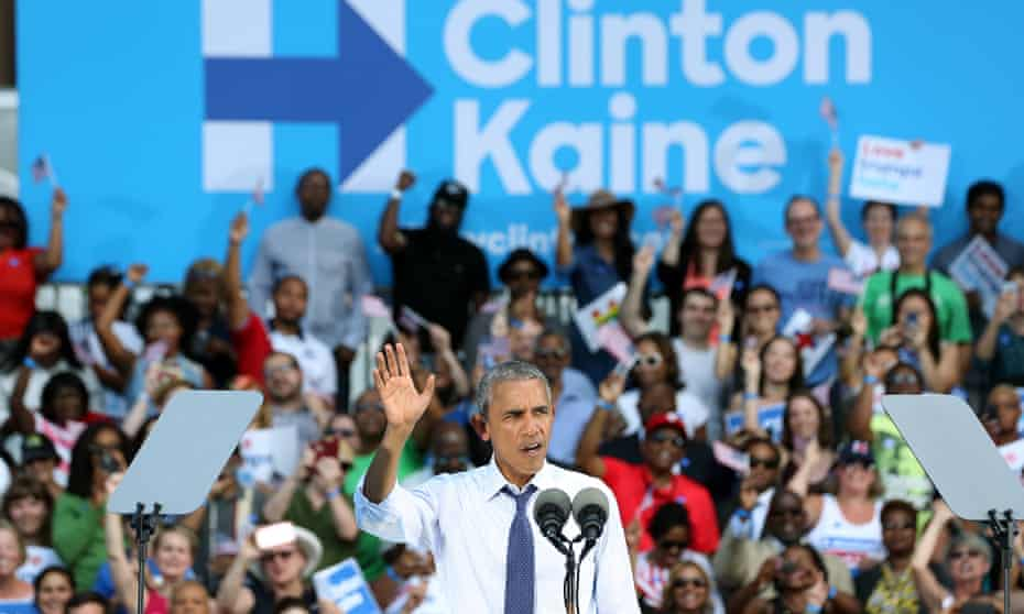 Barack Obama campaigns for Hillary Clinton