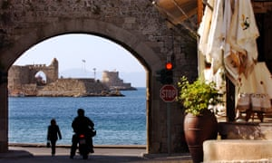 Old Town and harbour in Rhodes, Greece.