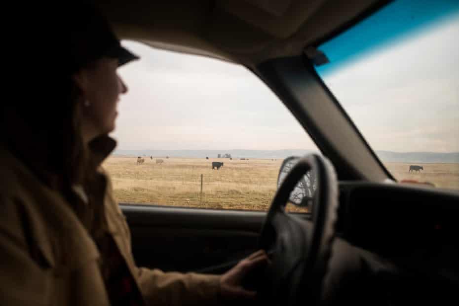 Owens drives around her ranch in Los Molinos.