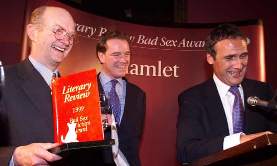 Co-founder Auberon Waugh (left) with James Hewitt and AA Gill (right) at the 1999 Bad sex award ceremony.