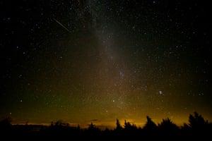 The Perseid meteor shower as seen in Spruce Knob, West Virginia, US