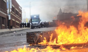A fire at the barricade set up by protesters.