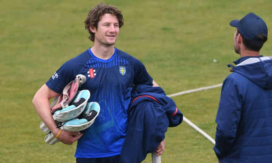 Durham batsman Cameron Bancroft chats with the county's coach James Franklin on Saturday.