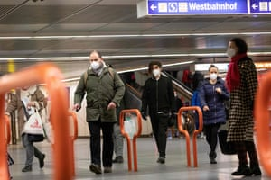 Commuters wear FFP2 protective face masks at the Westbahnhof underground station in Vienna.