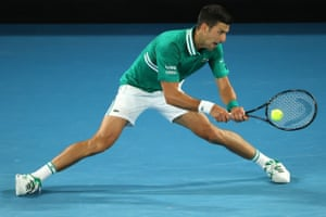 Serbia's Novak Djokovic hits a return against Germany's Alexander Zverev.