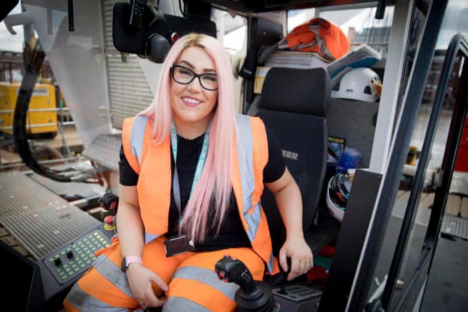 Katie Kelleher, crane driver, at Tideway Blackfriars site in London.