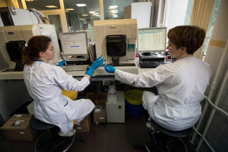 Employees in Russia's national drug-testing laboratory in Moscow.