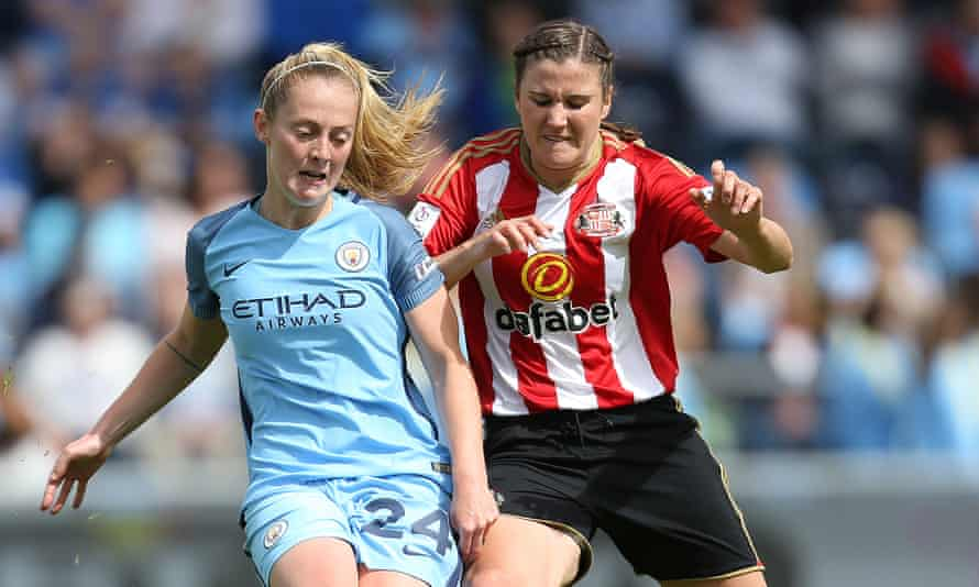 Sunderland Ladies, whose midfielder Madeline Hill, right, is in action here against Manchester City, are having to move to a different stadium and training ground.