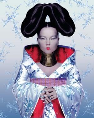 Björk in her Alexander McQueen kimono on the cover of Homogenic, 1997.