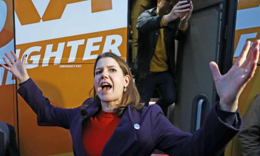 Lib Dem leader Jo Swinson arrives in Cheltenham on Tuesday