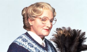 Robin Williams as embarrassing parent extraordinaire Mrs Doubtfire in the 1993 film.